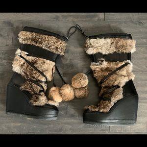 Ash Fur Wedge Zubroska Boots 37